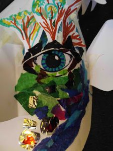 card mask in progress: a giant, a tree, a world, a hope...